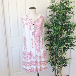 Reborn XL White Pink Boho Sleeveless Shift Dress